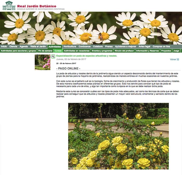 Curso de poda de arbustos y rosales en el jard n bot nico for Jardin botanico cursos